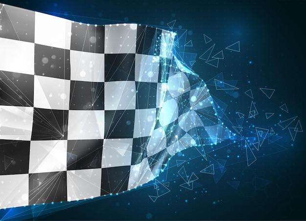 Флаг, черно-белый клетчатый виртуальный абстрактный 3d-объект из треугольных многоугольников на синем фоне