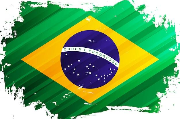 Flag of brazil brush stroke. national flag of federative republic of brazil. vector illustration.