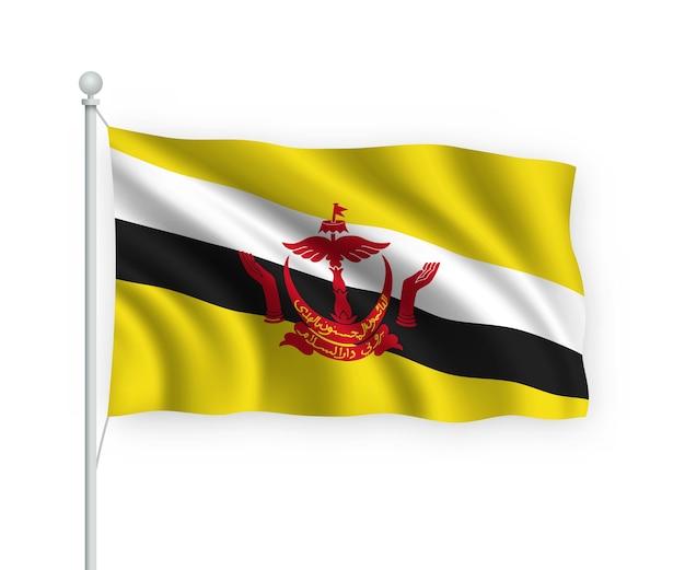 Флаг брунея на флагштоке изолированного на белом