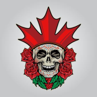 Flag canada logo sugar skull dia de los muertos illustrations