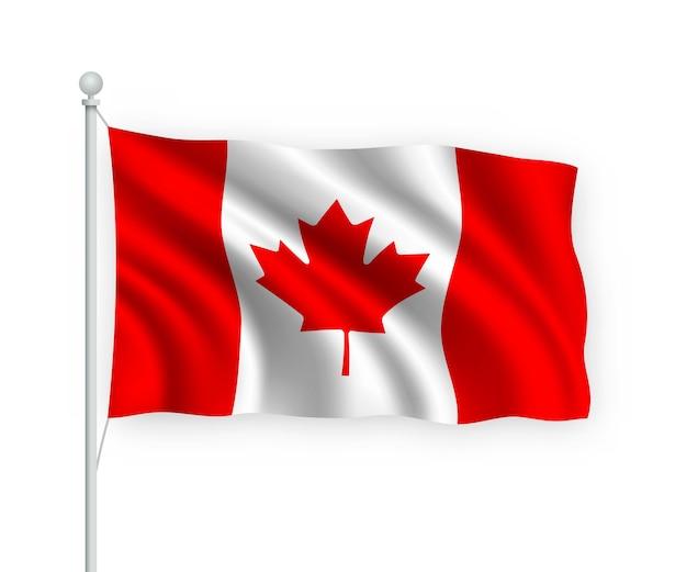 Флаг канады на флагштоке изолированный на белом