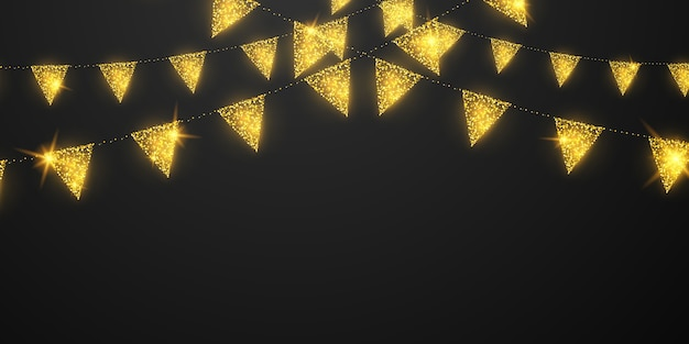 Flag celebration confetti and ribbons gold frame glow party banner