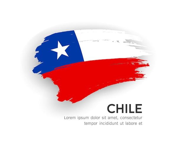 Flag of chile vector brush stroke design isolated on white background illustration
