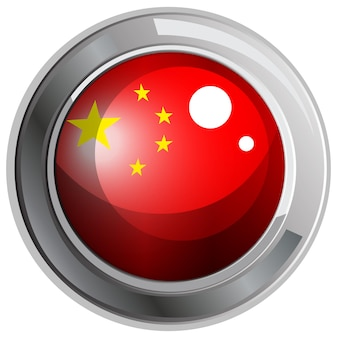 Flag of china in round frame