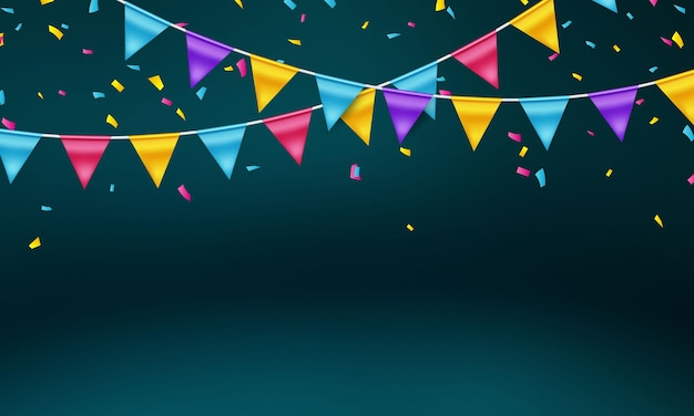 플래그 다채로운 개념 디자인 서식 파일 휴일 해피 데이