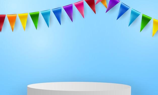 カラフルなコンセプトデザインテンプレートの休日幸せな日にフラグを立てる