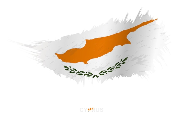 Flag of cyprus in grunge style with waving effect, vector grunge brush stroke flag.