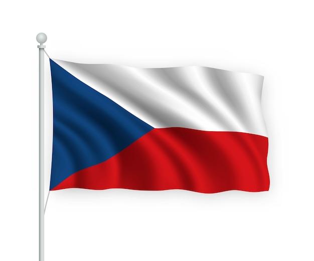 Флаг чехии на флагштоке изолированный на белом