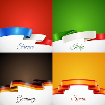 Flag design ribbon concept icons set