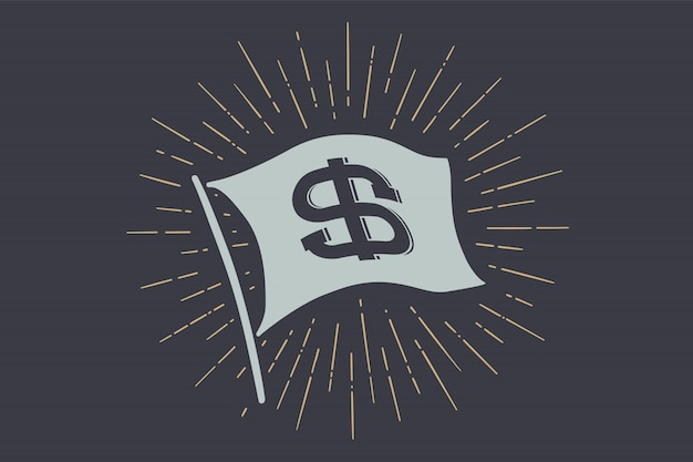 Flag dollar. old school flag  with sign usd