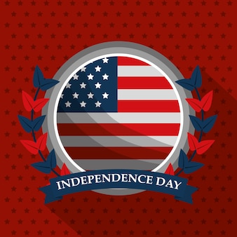 Flag emblem american independence day card