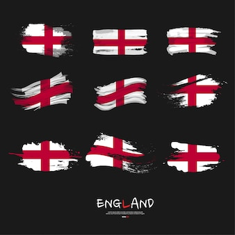 Flag of england with brush stroke.