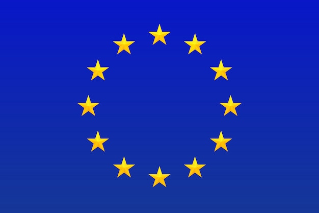 Flag of europe. european union symbol. circle of bright, gold stars isolated on blue background