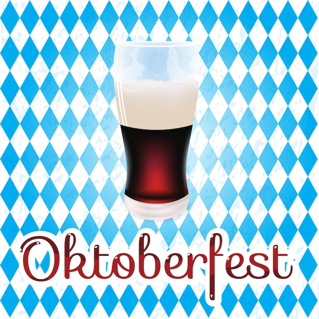 Flag festival oktoberfest dark beer vector illustration