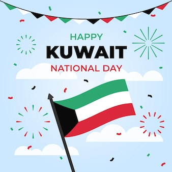 Flag and fireworks flat design kuwait national day