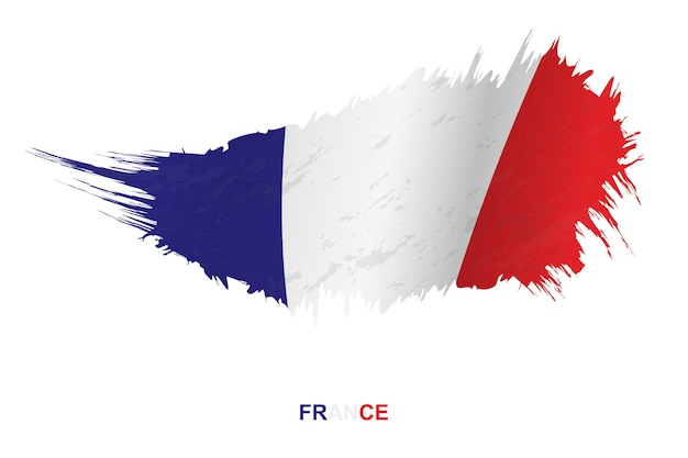 Flag of france in grunge style with waving effect, vector grunge brush stroke flag.