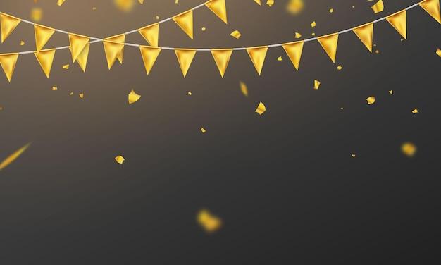 Флаг золотого конфетти концепции дизайна шаблона