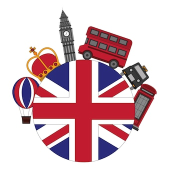 Flag of great britain with london icons