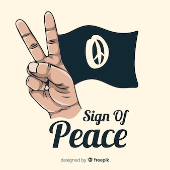 Flag hand peace sign background
