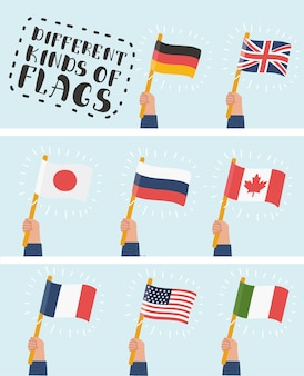 Flag in hand round icons set. human hands holding flags of different countries,  illustration