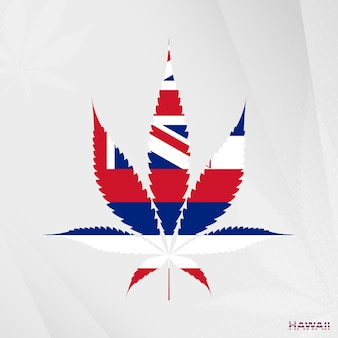 Flag of hawaii in marijuana leaf shape. the concept of legalization cannabis in hawaii.