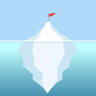 Flag on the iceberg with clear sky vector