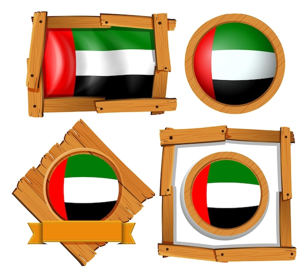さまざまな形のアラブ首長国連邦の旗のアイコンデザイン