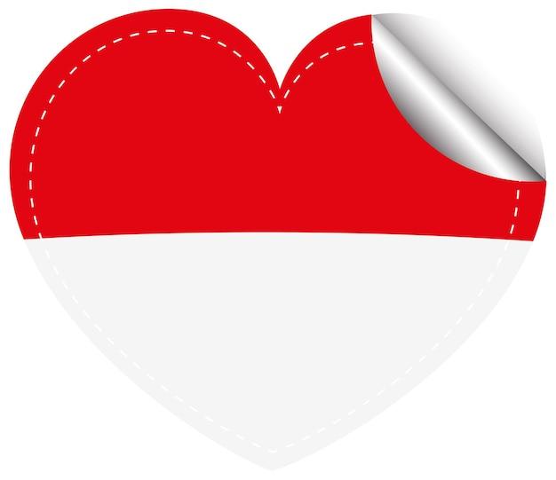 심장 모양에 인도네시아에 대 한 플래그 아이콘 디자인