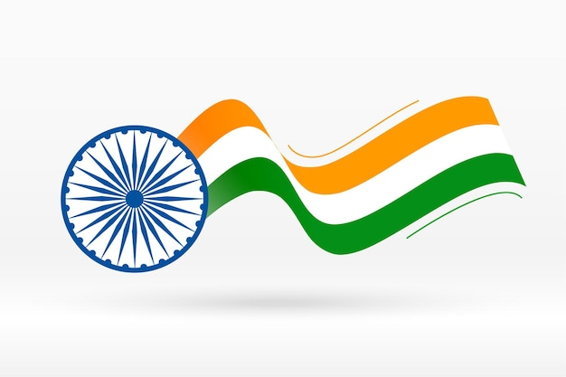 Flag of india in creative wave style