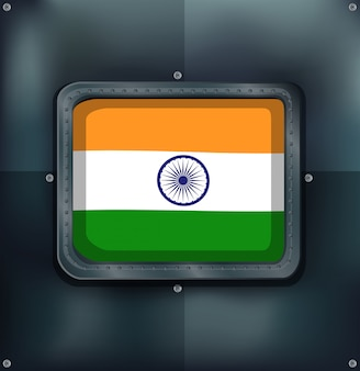 Flag of india on metalic background