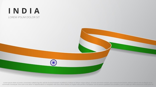 Flag of india. realistic wavy ribbon with indian flag colors. graphic and web design template. national symbol. independence day poster. abstract background. vector illustration.