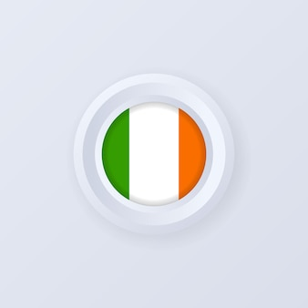 Flag of ireland. ireland button. irelandian label, sign, button, badge in 3d style.