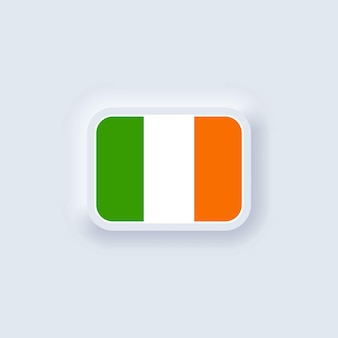 Flag of ireland. national ireland flag. irelandian symbol. vector. neumorphic ui ux