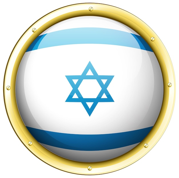 Flag of israel on round badge