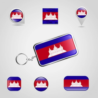 Flag key chain design vector