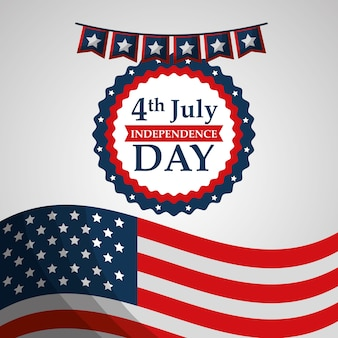 Flag label decoration american independence day