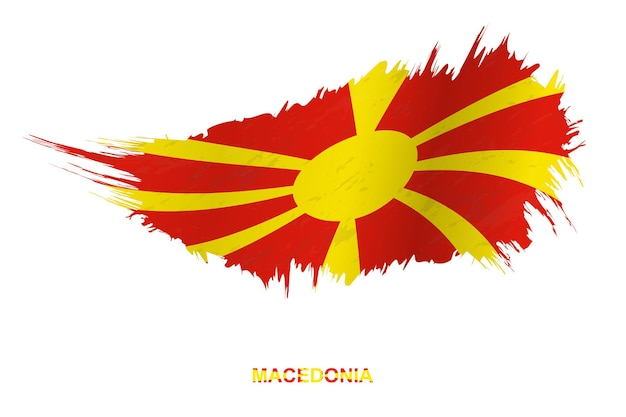 Flag of macedonia in grunge style with waving effect, vector grunge brush stroke flag.