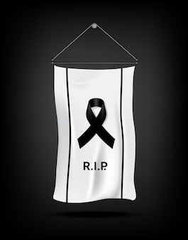 Flag mock up mourning symbol with black respect ribbon on white background