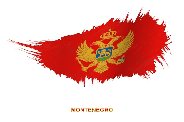 Flag of montenegro in grunge style with waving effect, vector grunge brush stroke flag.
