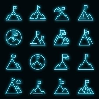 Flag on mountain icons set vector neon