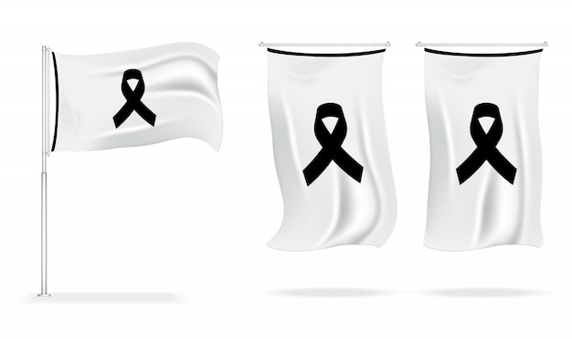 Flag mourning symbol with black respect ribbon