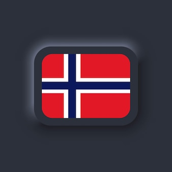 Flag of norway. national norway flag. vector illustration. eps10. simple icons with flags. neumorphic ui ux dark user interface. neumorphism