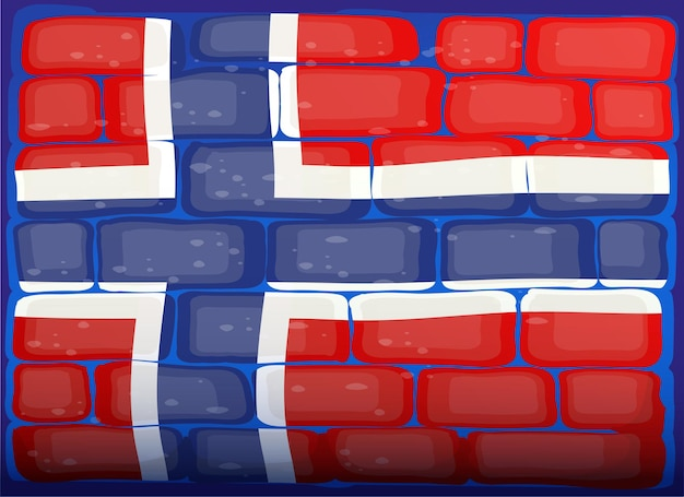 Flag of norway painted on brickwall