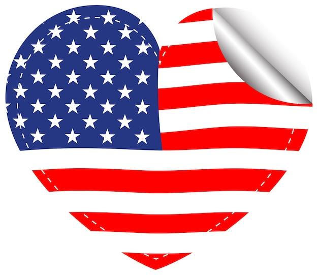 심장 모양에 미국의 국기