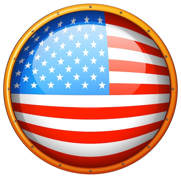 Флаг америки в круглый значок