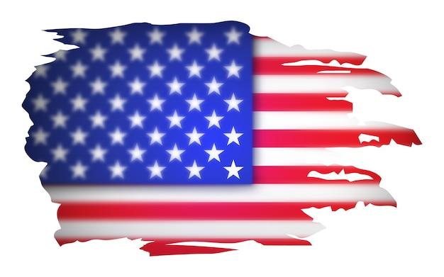 アメリカの国旗、アメリカ。白い背景で隔離のイラスト。