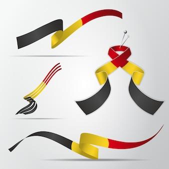 ベルギーの旗。 7月21日。ベルギー国旗の色でリアルな波状リボンのセット。独立記念日。国家のシンボル。ベクトルイラスト。 eps10。