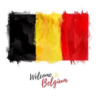 Флаг бельгии с украшением национального цвета. рисунок в стиле акварели.