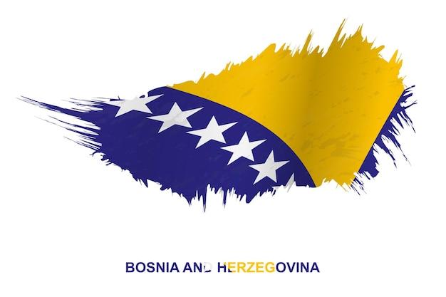 Флаг боснии и герцеговины в стиле гранж с размахивая эффектом, вектор мазка кисти гранж.