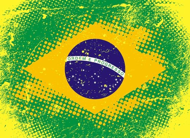 브라질, 브라질 연방 공화국의 국기입니다. 그런 지 스타일에서 벡터 일러스트 레이 션. 찰과상 및 하프톤이 있는 텍스처